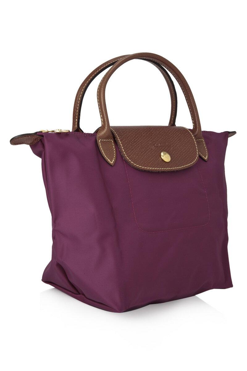 [短柄S號]國外Outlet代購正品 法國巴黎 Longchamp [1621-S號] 短柄 購物袋防水尼龍手提肩背水餃包 覆盆紫 2