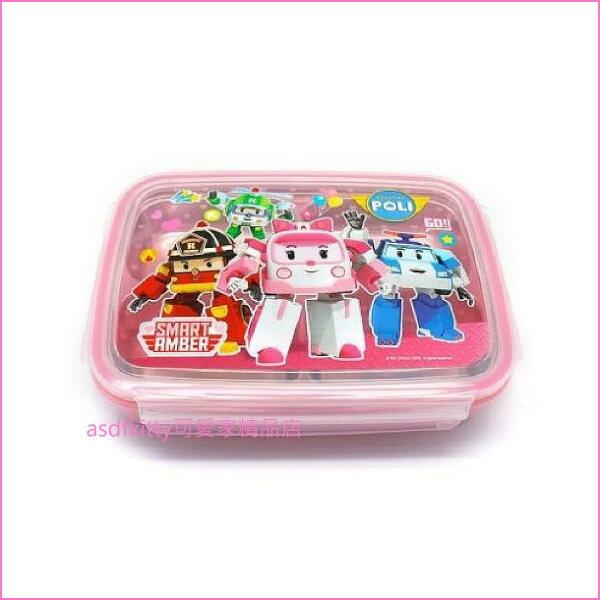 asdfkitty可愛家☆POLI救援小英雄安寶粉紅色樂扣型防燙有蓋304不鏽鋼餐盤便當盒-4格型-韓國製