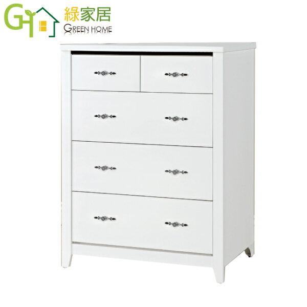 【綠家居】亞里波現代白2.9尺五斗櫃收納櫃