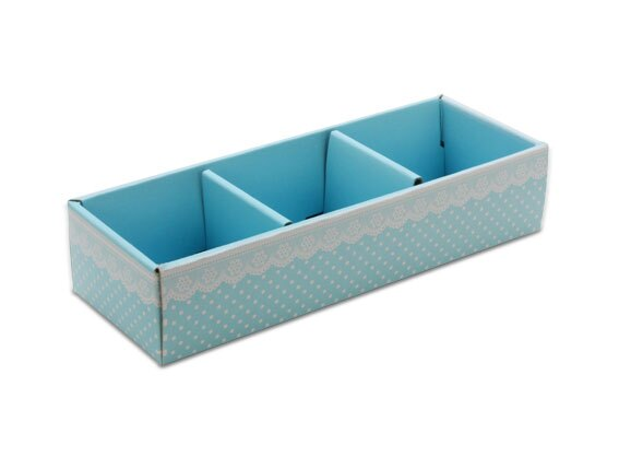 外帶盒、紙盒、包裝盒 3格 G17336-2(藍底白點花邊)5 pcs含透明盒、附內格