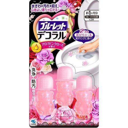 ~小林製藥~BLUELET DECO馬桶清潔芳香花瓣凝膠~ 玫瑰粉紅3入裝