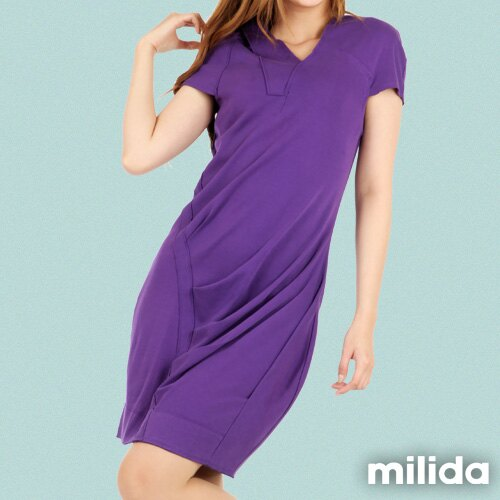 【Milida,全店七折免運】-春夏商品-V領款-修身氣質洋裝 3