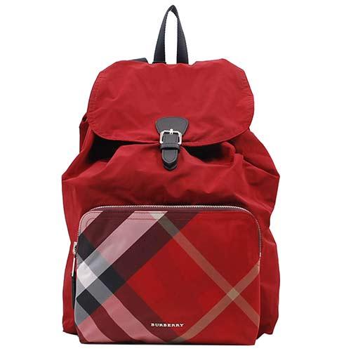 BURBERRY Rucksack 尼龍皮飾邊格紋拉繩後背包(紅色)