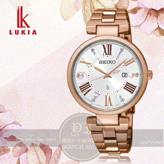 SEIKO日本精工LUKIA林依晨代言櫻花飛舞太陽能時尚腕錶V137-0CW0KSUT334J1公司貨