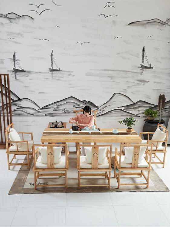 茶几 原木茶桌椅組合實木喝茶藝功夫茶幾新中式泡茶臺簡約現代客廳茶桌 七色堇 新年春節送禮