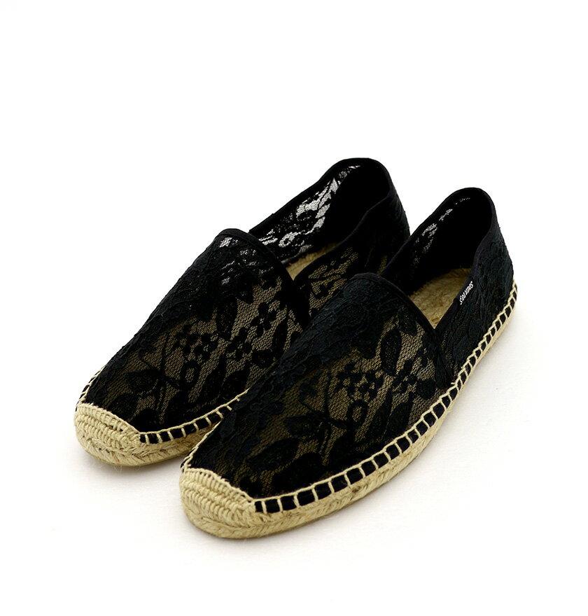 【Soludos】美國經典草編鞋-黑色粗蕾絲