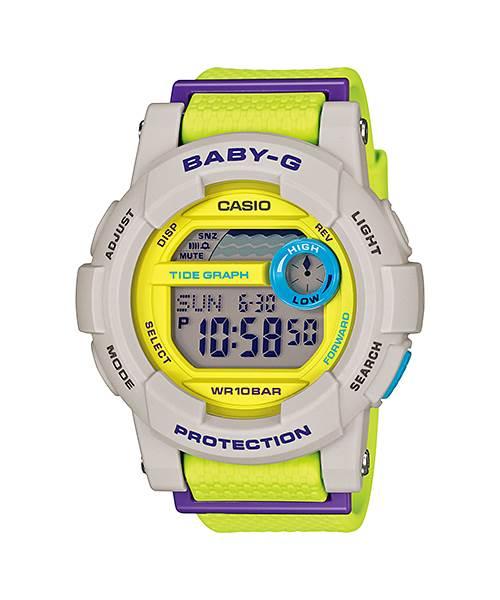 CASIO 卡西歐 衝浪 潮汐多功能膠帶電子錶 灰 綠 BGD-180-3DR 45mm