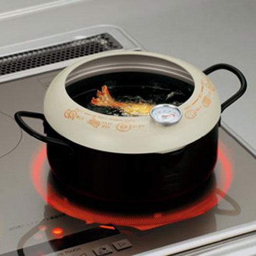 日本貝印天婦羅鍋油炸鍋(附贈溫度計)