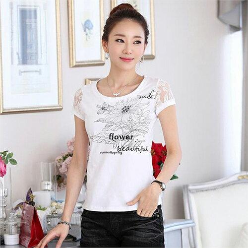 蕾絲剪接印花衫短袖T恤 (白色,S~2XL)【OREAD】 - 限時優惠好康折扣