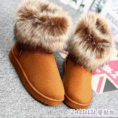~IE062~ZALULU愛鞋館 ~  可愛浪漫暖暖仿狐狸毛平底短筒雪靴~偏小~黑 黃 紫