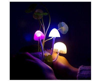 七彩變色盆栽小夜燈 自動變色七彩燈 微景觀 植物 床頭燈 感應燈 LED燈 龍貓陶瓷小夜? 拍拍燈