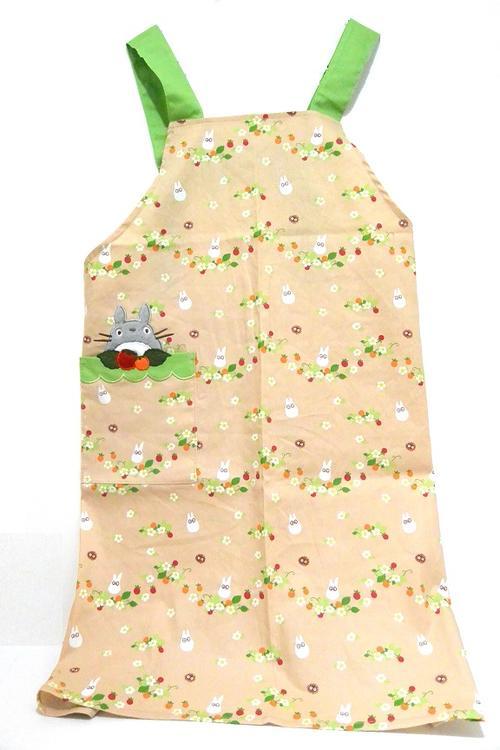 【真愛日本】16040800006 圍裙-灰龍貓電繡野苺花棕 龍貓 TOTORO 豆豆龍 圍裙 圍兜 居家