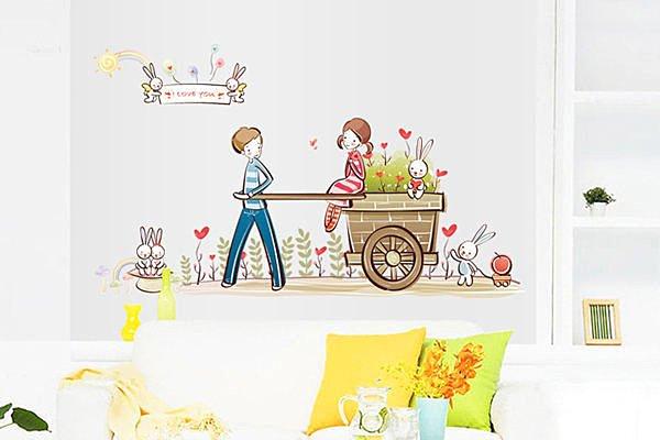 BO雜貨【YV2722】創意可移動壁貼 牆貼 背景貼 時尚組合璧貼 磁磚貼 戀人花車 情人節