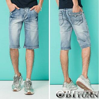 專櫃品牛仔褲【P1834】OBI YUAN韓版鬼洗抓痕刷白口袋質感皮標單寧彈性牛仔短褲