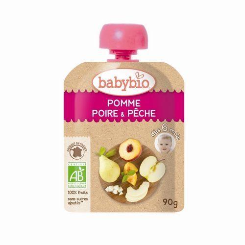 法國倍優Babybio有機蘋果洋梨纖果泥隨行包6m+