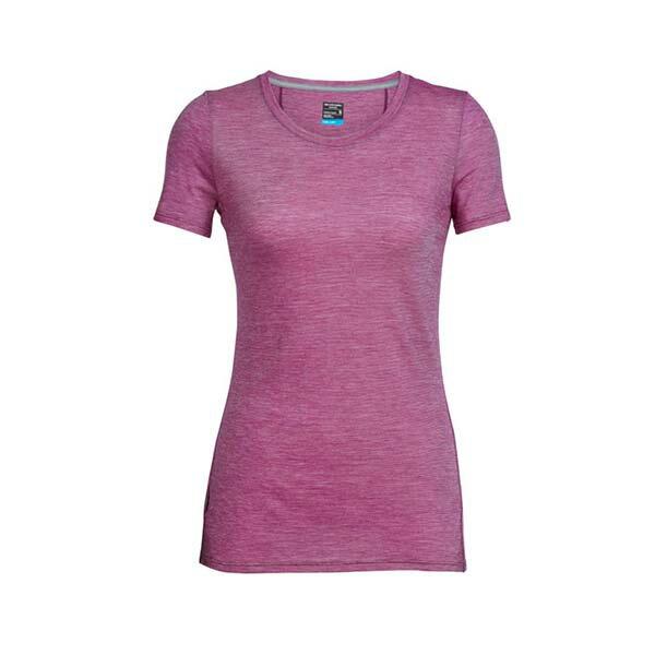 《台南悠活運動家》icebreaker 104067 女 COOL-LITE 圓領短袖上衣-條紋淡紫