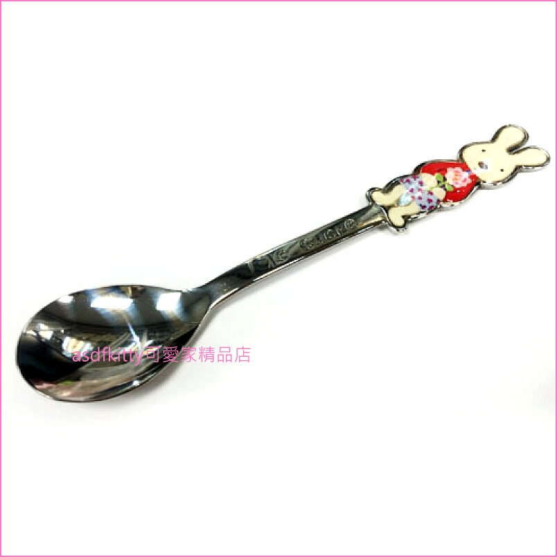 asdfkitty可愛家☆LE SUCRE 法國兔拿花不鏽鋼湯匙(小)/點心匙/咖啡匙-日本正版商品