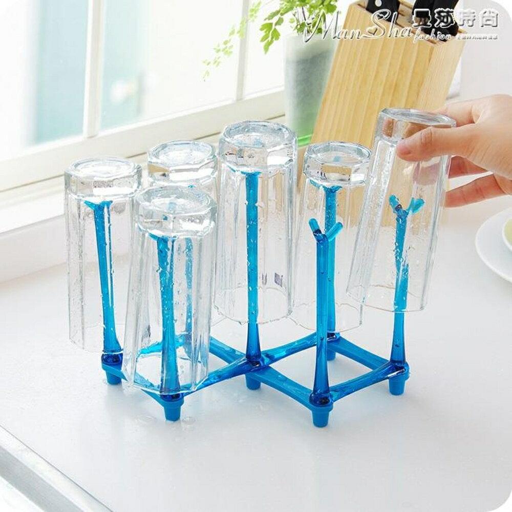 杯架折疊瀝水杯架玻璃杯子倒掛架家用奶瓶茶杯馬克杯晾杯架多功能 清涼一夏特價