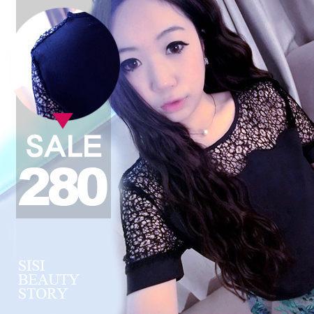 SiSi Girl:SISI【T4012】清新百搭好品質波浪鏤空雪紡衫