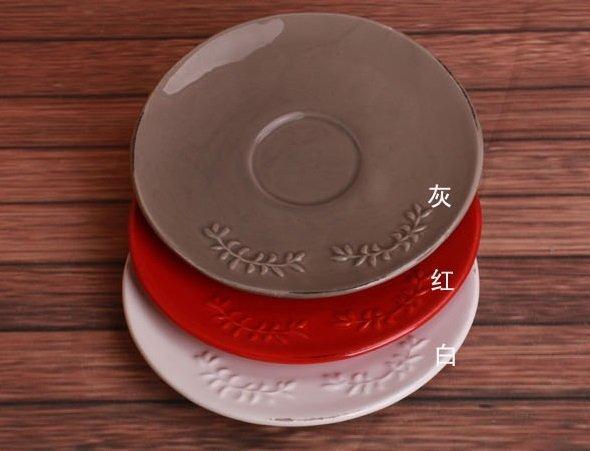 歐式鄉村浮雕做舊彩色陶瓷小碟子 蛋糕碟 點心碟 糖果碟 零食碟3個組
