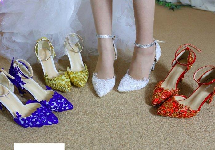 <br/><br/> Pyf ? 亮片蕾絲花朵婚鞋 伴娘鞋 繞踝白色新娘鞋 俏麗中空款宴會鞋 42 大尺碼女鞋<br/><br/>