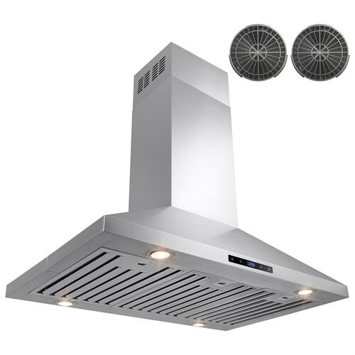 """36"""" Stainless Steel Island Mount Range Hood Touch Screen Display Light Baffle Filter Ductless Vented 0"""