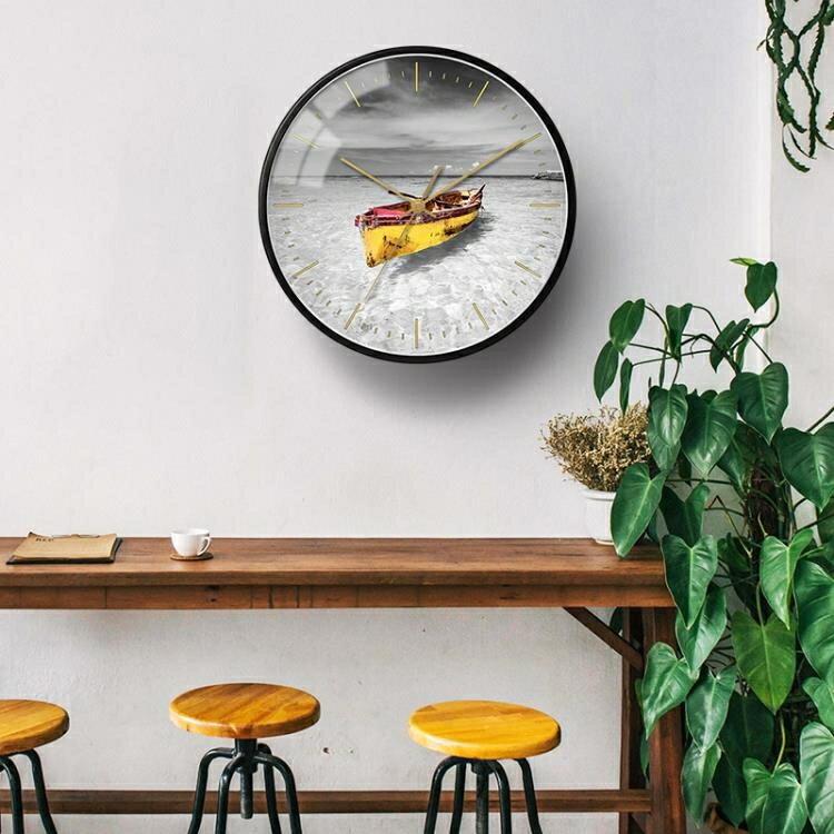 掛鐘北歐個性時尚風景客廳臥室靜音大氣簡約裝飾掛錶圓形金屬 概念3C