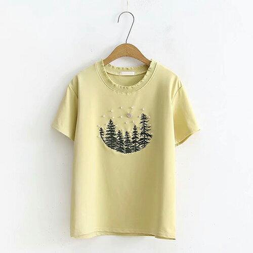 刺繡釘珠寬鬆套頭圓領短袖T恤(4色F碼)【OREAD】 0