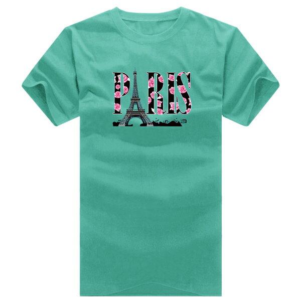 T恤 情侶裝 客製化 MIT台灣製純棉短T 班服◆快速出貨◆獨家配對情侶裝.玫瑰鐵塔PARIS【YC125】可單買.艾咪E舖 7