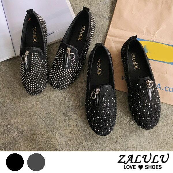 ZALULU愛鞋館7CE103預購個性金屬鑽拉鍊平底休閒包鞋-偏小-黑銀-36-40