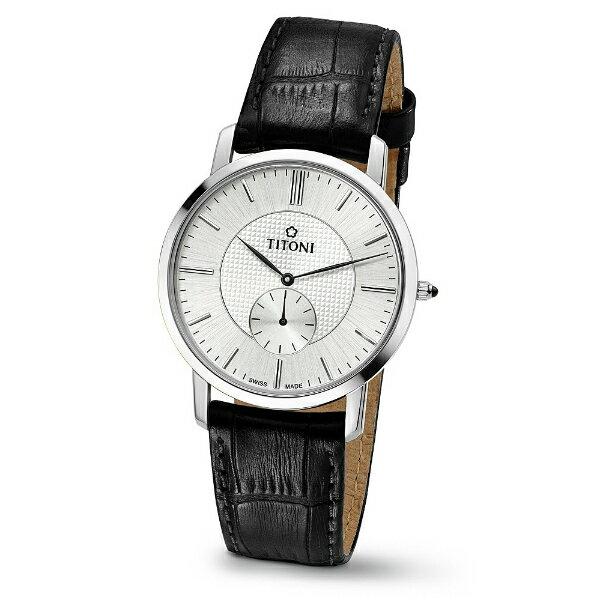 TITONI瑞士梅花錶TQ52917S-ST-380 Slenderline系列纖薄時尚腕錶/白面38mm