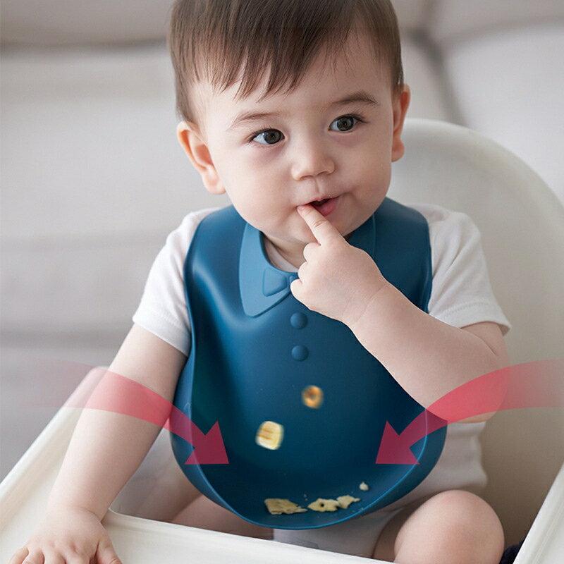 現貨供應▶硅膠嬰兒口水圍兜硅膠可啃咬兒童硅膠圍兜動物圖案小孩食飯兜現貨-NATIONAL