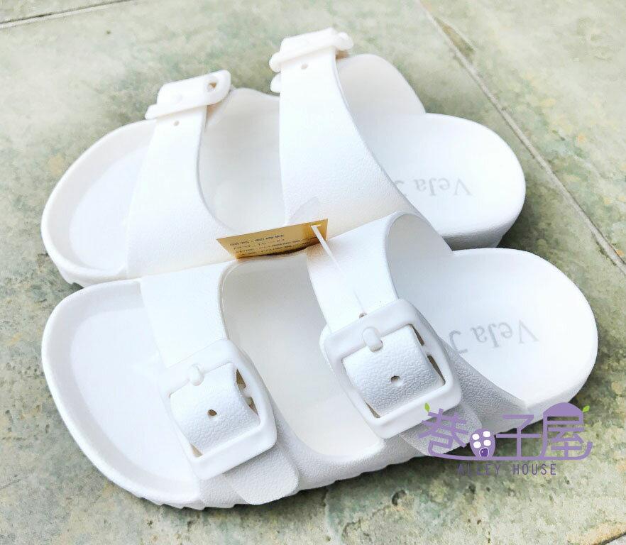 【巷子屋】童款一體成型防水勃肯拖鞋 白色 MIT台灣製造 超值價$198