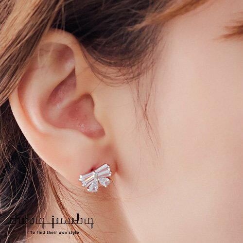 水晶小蝴蝶結耳環【櫻桃飾品】【10584】