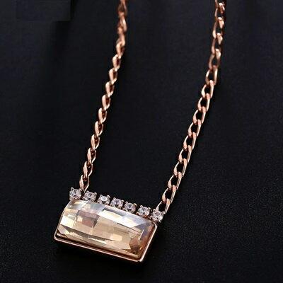 純銀項鍊 鍍18K金水晶吊墜~ 閃耀百搭七夕情人節 女飾品73dn141~ ~~米蘭 ~