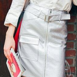 ★長裙PU皮革半身裙子-歐風時尚綁帶一片裙女裙裝73hv47【獨家進口】【米蘭精品】