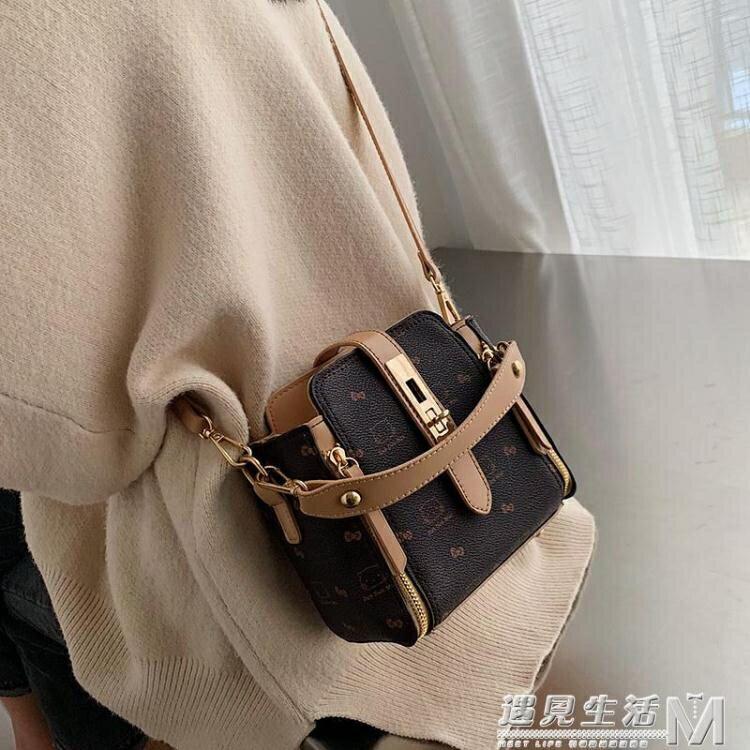 洋氣小包包女包新款潮時尚手提印花水桶包韓版鎖扣單肩斜背包