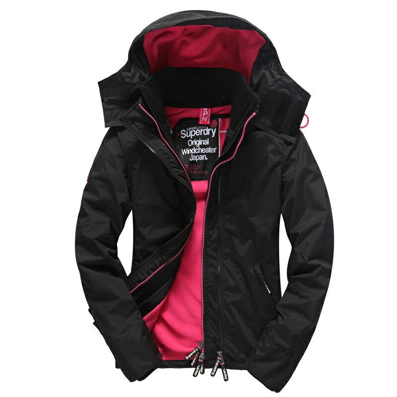 [女款]英國極度乾燥 Superdry Arctic Windcheater女款 三層拉鍊連帽保暖防風外套 黑/桃 數量有限 0