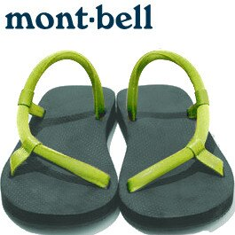 Mont-Bell 日系圓織帶休閒拖鞋/戶外涼鞋 Sock-on sandals 1129396 dg-fg 深綠/鮮綠