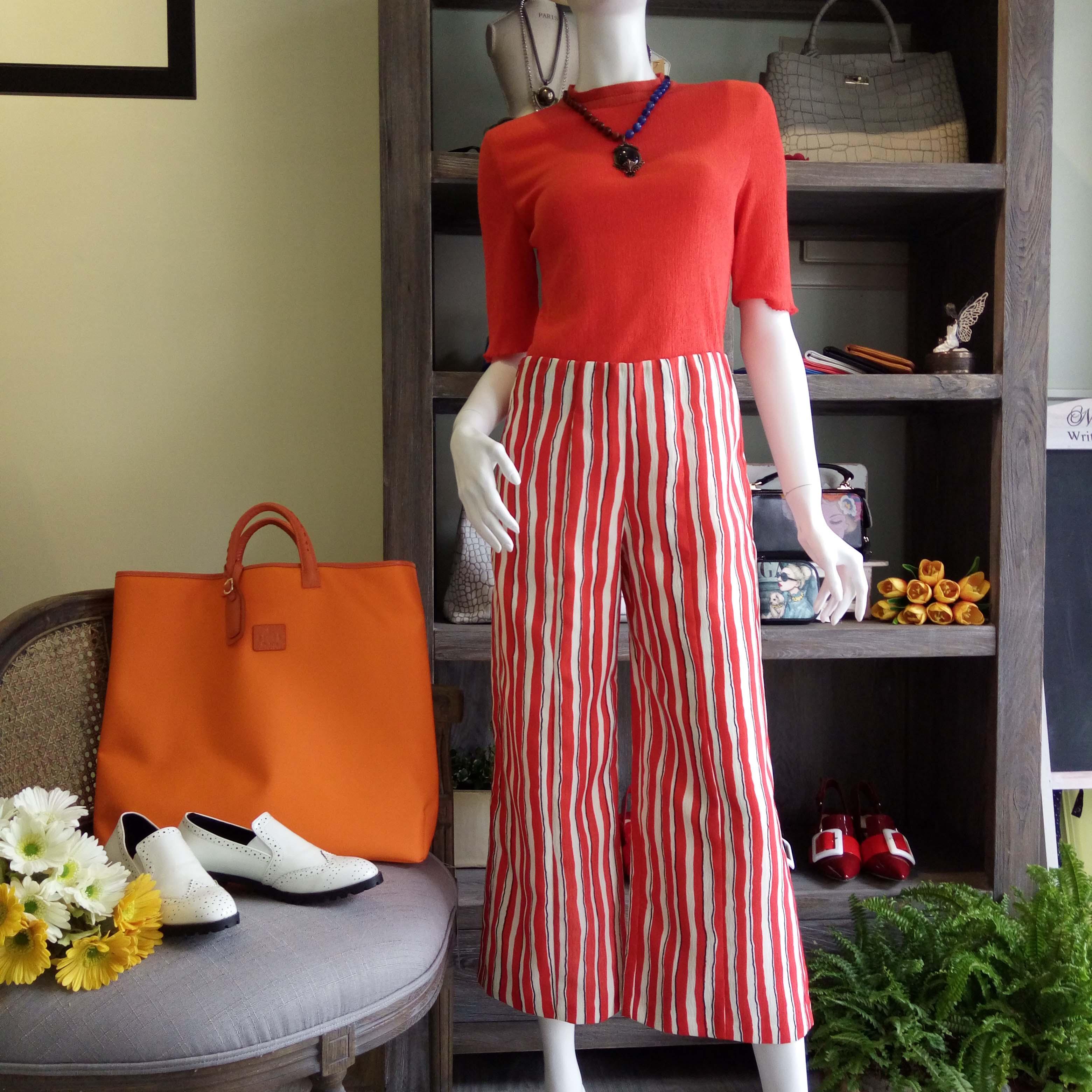 AXIS 1731一起賞衣【慶開店大優惠】法國Dior副牌-雙色條紋混紡寬版褲