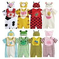動物造型連身衣 套裝 圍兜 帽子 連身衣 短袖 造型服 男寶寶 女寶寶 3件套 31271(好窩生活節)-baby童衣-媽咪親子推薦