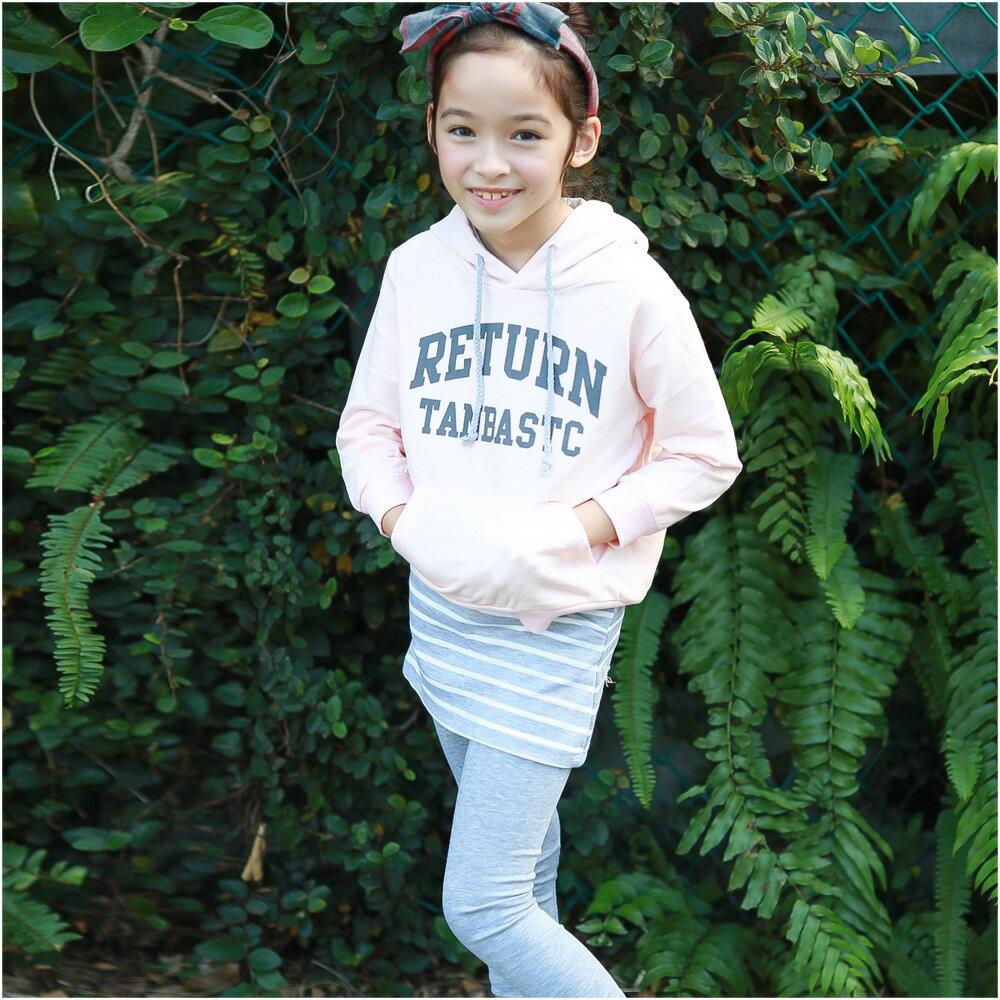 Augelute 親子套裝 純棉印字帽T條紋褲裙 小孩款2件套 47114 0