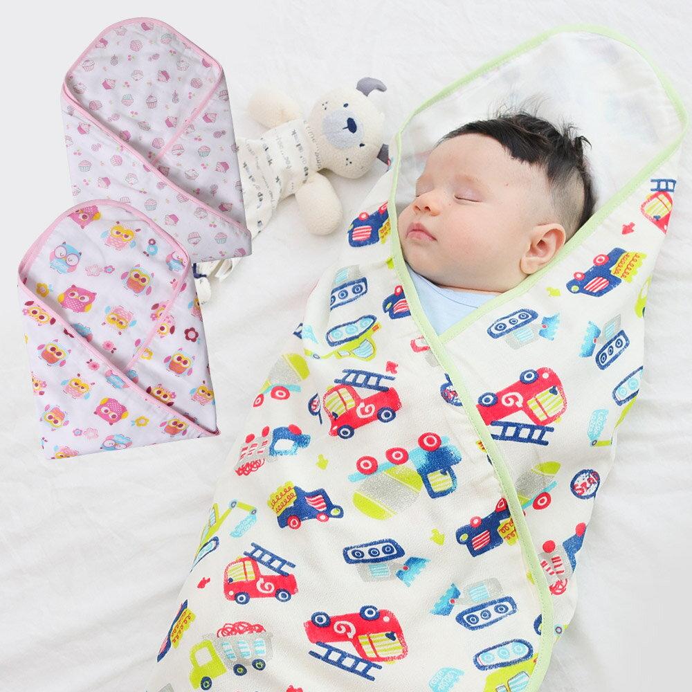 Augelute Baby 雙層紗布棉印花包巾 51032