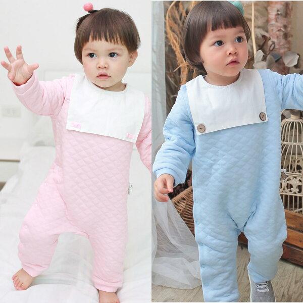 baby童衣:AugeluteBaby造型圍兜側開扣長袖連身衣70013