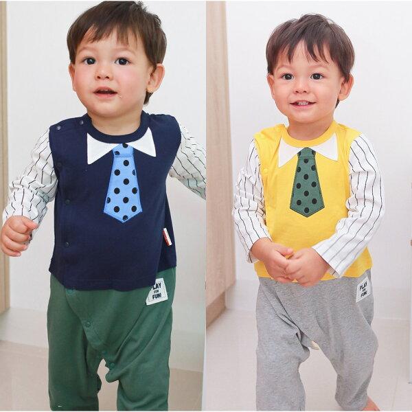 baby童衣:AugeluteBaby長袖領帶假三件連身衣70056