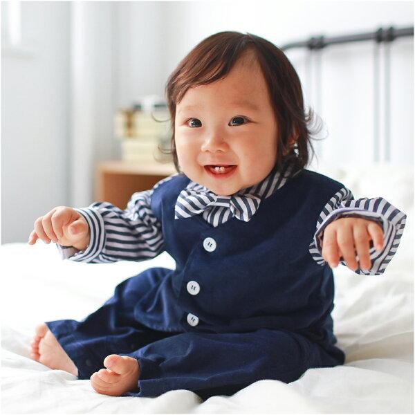 baby童衣:AugeluteBaby條紋紳士造型假三件長袖連身衣70108