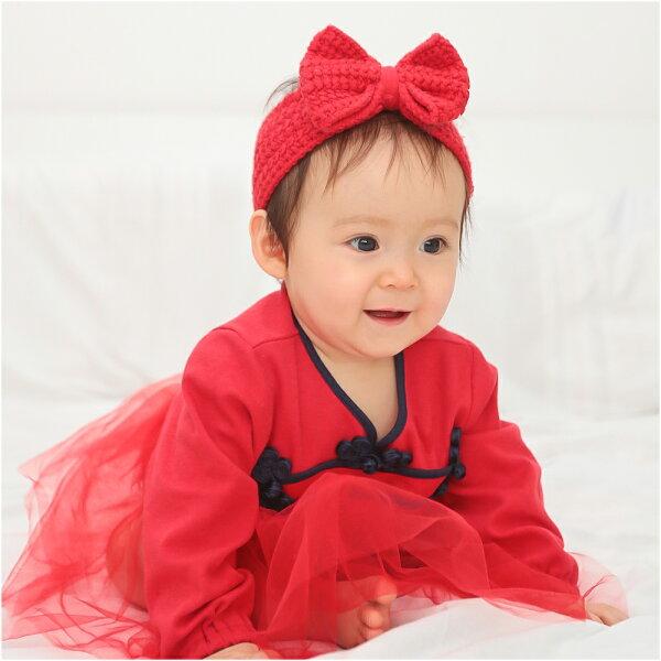 baby童衣:AugeluteBaby蕾絲緞帶中國風造型包屁裙70128