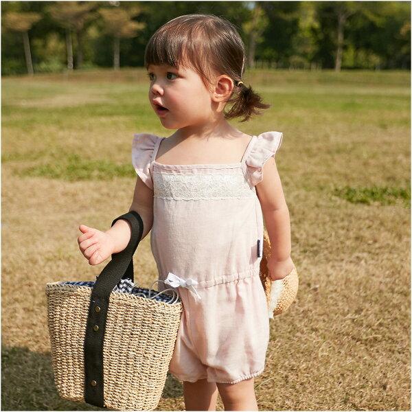 baby童衣:女寶寶連身衣荷葉飛袖爬衣80011