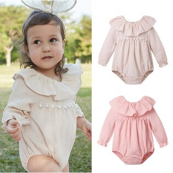 baby童衣:女寶寶包屁衣荷葉領長袖兔裝80014