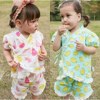 婦嬰用品短袖套裝 蕾絲 造型和服 上衣 短褲 女寶寶 2件套 80073(好窩生活節)。就在baby童衣婦嬰用品